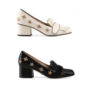 Kadınlar İşlemeli Deri Orta topuk Pompa Tasarımcı Ayakkabı% 100 Gerçek Deri Fringe Detay Bayan Elbise Düğün Loafer Ayakkabı US11 Üzeri katlayın
