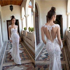 2020 Berta Mermaid Wedding Dresses Querida mangas compridas Lace Appliqued Trem da varredura vestido de casamento nupcial vestes BC0488 de mariée