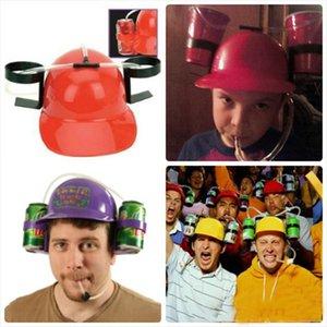 Kostenloser Versand Frauen Männer Hands Free Solid Color Trinken von Hut Plastic Straw faule Party Bier Soda Cap Helm für die WM