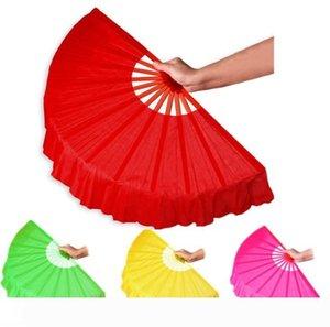 B Les fans Noir Plein Rouge Pliant Artisanat Spectacle de danse de soirée de mariage fournitures de souvenir Décoration de wen4757