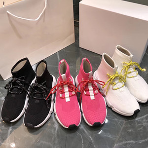 NEUE Designer Schnürsenkel Socken Schuhe Hohe Qualität Geschwindigkeit Trainer Sneakers Männer Frauen Trainer Stretch Knit Mid Sneakers Trainer Doppel Box SZ 35-46