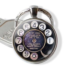 2019 yeni moda charm kolye anahtarlık Telefon Dial Anahtarlık El Yapımı Cam Nostaljik Takı Retro Tarzı Doğum Günü Hediyesi Moda Acces