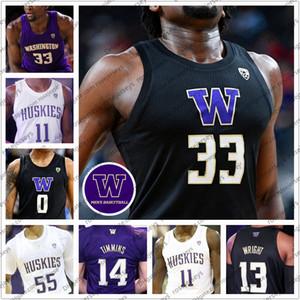 Özel 2020 Washington Huskies Basketbol 33 İşaya Stewart 0 Jaden McDaniels 11 Nahziah Carter 55 Quade Yeşil Erkekler Gençlik Kid Formalar 4XL