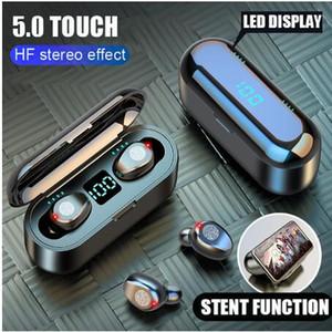 2000mAh Güç Bankası Kulaklık ile Mikrofon ile Kablosuz Kulaklık Bluetooth V5.0 F9 TWS Kablosuz Bluetooth Kulaklık LED Ekran