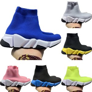 With Box 2020 Kids Speed Stretch Knit High-Top Breathable Sports Sock Boots Originals Speed Kids Buffer_Rubber Athletic Shoes