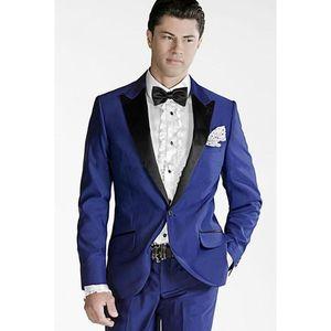 Moda Royal Blue smoking dello sposo eccellente picco risvolto Uomini Groomsmen Weding smoking giacca sportiva degli uomini vestito convenzionale vestito del partito di promenade (Jacket + Pants + Tie) 5
