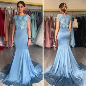 Blue Mermaid Mother of the Bride Dresses Square Neck Short Sleeve Muslim Evening Wear Appliques Satin Long Train Formal Gown