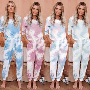 Tie Dye Printed Tracksuit Women girls Pajama Set Long Sleeve Tops Long Pants Pyjamas PJ Sets Loungewear Sleepwear 2pcs Suits