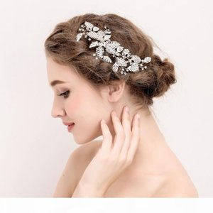 beijia New Silver Leaf Hair Ornaments Bridal Clip Rhinestone Wedding Accessories Hair Comb Women Jewelry Handmade Headwear