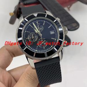 Нью-Superocean Heritage Часы Часы хронограф черный циферблат A1331212 Кварцевый Секундомер Мужские часы каучуковый ремешок Спорт Orologio ди Lusso