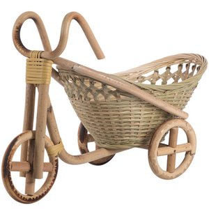 Bamboo Handmade Woven Straw Fruit Basket Wicker Rattan Bread Organizer Kitchen Decorative Bicycle Gift Neatening Organizer