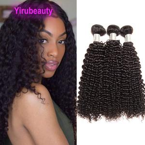 브라질 인간의 머리카락 확장 도매 10 번들 / 로트 kinky 곱슬 자연 색상 버진 익사 머리 제품 10 개 / 세트 곱슬