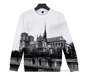 De Paris Hommes Hoodies 3D imprimé O-Neck Sweat coloré Mode Femme Vêtements RIP Hot Notre Dame
