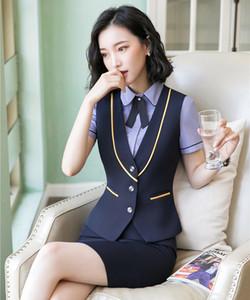 Novos 2019 Ternos Ladies Colete Vest Mulheres de negócios de duas peças saia e top Define Work Wear roupa do escritório Azul marinho