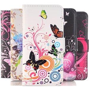 애플 아이폰 8 7 6s 플러스 SE 5 5S 5C 4 4S PU 가죽 전화 케이스 패턴 꽃 나비 플래그 페인트 플립 플랍 지갑 스타일