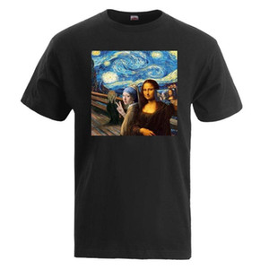Da Vinci Gogh Tişörtlü Erkekler Mona Lisa Het Meisje Met De Parel Yıldızlı Gece Tişörtü 2020 Yaz Casual Pamuk Erkek Camisetas