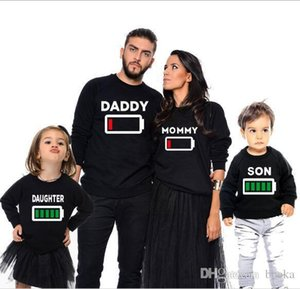 Autumn Family Matching Clothes Mother Daughter Outfits Father Son T Shirt Long Sleeve Print Battery Creative T-shirt Family Look