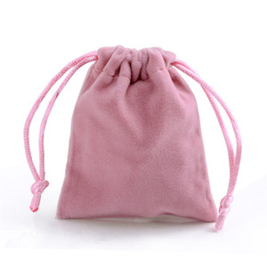 핑크 벨벳 선물 가방 보석 패키지 봉제 직물 졸라 매는 끈 주머니 크기가 다른 도매 100 개 조각에 대한