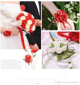 Wedding Celebration Bride Wrist Flower Faux Pearl Hand Tape Flowers Creative Arrangement Decorative Hands Bouquets Hot Sale 2yz Y