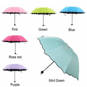 6 Renkler Lotus Yaprak Katlanır Şemsiye Taşınabilir Siyah Plastik Anti-UV Şemsiye Çiçeklenme Güneş Şemsiye Çift Kullanımlı Şemsiyeler Hediyeler BH2188 WCY