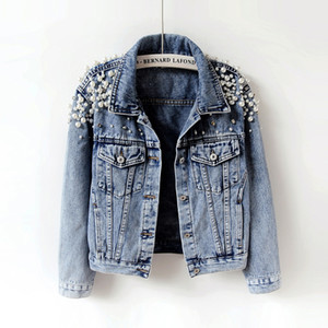 Spring Autumn Women Basic Coats Women Denim Jacket Pearls Beading Fashion Jeans Coat Loose Long Sleeve Jackets 898