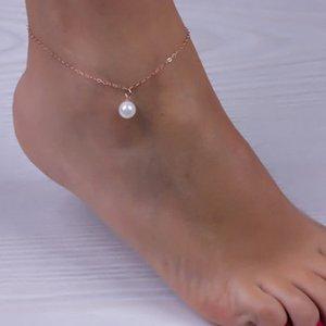 Имитация жемчуга кулон лодыжки браслет серебро позолоченное звено цепи пляж ножные браслеты ювелирные изделия для ног для женщин ножные браслеты аксессуары для ног
