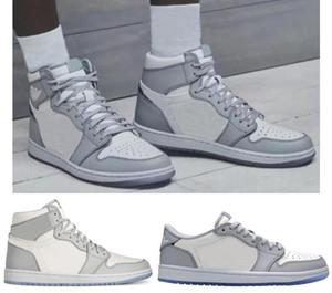 Bianco Grigio Sport Sneakers migliori scarpe di qualità 1 bianco e grigio di basket maschile Donne 1s nuovi con la scatola