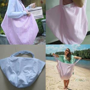 Hobo sacos Mulheres extragrandes grandes sacos Hobo praia crianças brinquedos de praia Receba Bag Seersucker Stripe Praia bolso Vagrant bolsa 2019 A418010