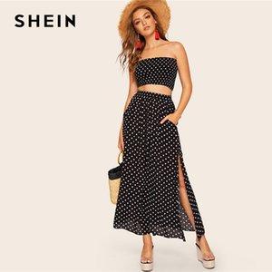 'S Conjuntos de ropa de mujer Shein Boho del lunar Bandeau fruncido y Maxi de la falda de las mujeres del verano HIGHSTREET Negro Crop Bandrau Maxi