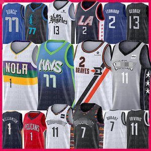 Luka Zion Doncic Williamson Kawhi Paul 2 George Leonard Basketball Jersey Kyrie Irving Kevin Durant Biggie Dirk Nowitzki Clipper Pelican Net