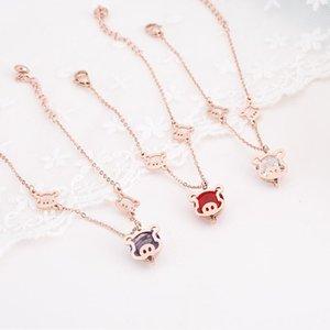 2019 d'oro Zodiac Pig Campana della corda rossa braccialetto di fascino, d'acciaio di titanio rosa color oro simpatico Piggy fortuna gioielli a mano