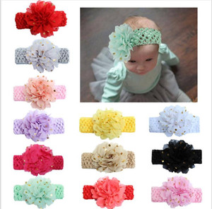 New sequins large flowers Elasticity Wide baby headband 12 colors hair accessories Children's hot stamping chiffon hair band DA436