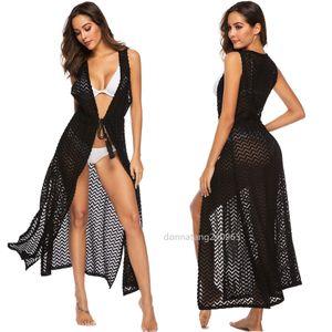 New Women Hollow Out wave pattern sleeveless Knited Blouse black Long Shirt Female Summer Beach Bikini Cover Up P9329