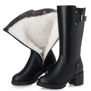 Natural Wool Fur Warm Snow Boots Women Winter Flats Mid Calf Boots Genuine Leather Waterproof Boots Black Big Size 35-43