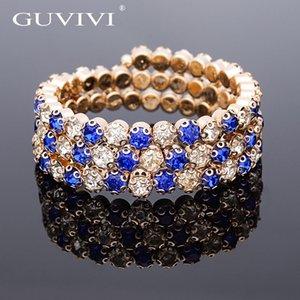 Guvivi austriaco claro perlas de cristal capas estiramiento del banquete de boda pulseras brazaletes para las mujeres joyería de las señoras regalo al por mayor