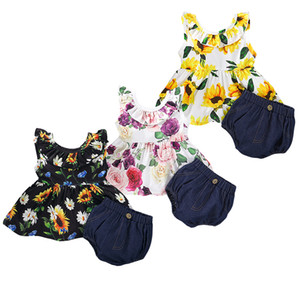 Mikrdoo Kids Toddler Baby Girl Summer Fashion Clothes Set Floral Print Sleeveless Top + Short 2PCS Cute Outfit