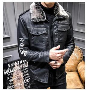 Ceket Tasarımcı PU Deri Kalın Sonbahar Kış Giyim Harf Nakış Biker Ceket Taklit kürk yakalı mens