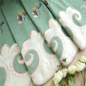 green European luxury pink embroidery thick blackout window screen luxury floor bedroom living room finished curtain customization