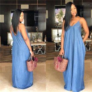 Saf Renk Elbise Kasetli Kaşkorse V Yaka Lady Tek Parça Bayan Giyim Kadın Plus Size Denim Elbiseler Kolsuz