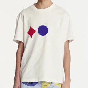 20SS Classique Trois Hommes Femmes Impression Jacquard Couple T couleur unie manches courtes respirant Casaul rue T-shirt d'été HFYMTX782