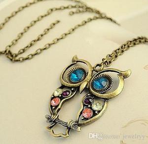 Lange Kette Retro Hohl Eule Halsketten Frauen Antike Vintage Geschnitzte Kristall Eule Anhänger Halskette Schmuck für Liebhaber Geschenk