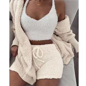 Women Fleece Plush Casual Three Piece Set Long Sleeve Hooded Cardigan Coat Autumn Winter Outwear + Shorts Fashion Outfits + Vest Y200706