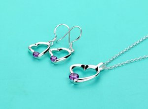 Genuine 925 Sterling Silver Jewelry Set Heart Jewelry solid Silver Dazzling zircon necklace earrings set Accessories for woman
