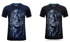 New 3D White Tiger Stereo Pattern Kurzarm Herren T-Shirt, Stereo Herrschsüchtig Persönlichkeit Rundhals T-Shirt mit vergrößerter Größe