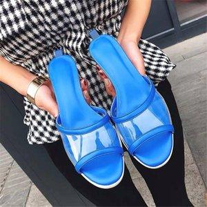 Sapatos da moda 2020 mulas Praia Sandals PVC transparente Chinelos Verão couro genuíno Salto Chucky Low Slides Mulher Sandálias