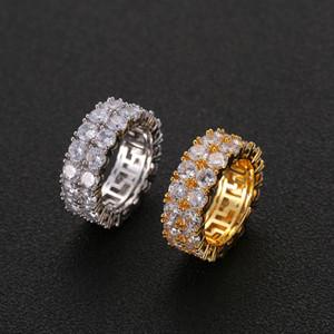 2 filas hacia fuera helado Hip Hop anillos de oro y anillo de tenis plateado CZ Bling Bling para los anillos de la joyería del Mens Mujeres