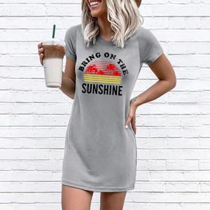 Portare In The Sunshine Stampa grigi maglietta del vestito dalle donne 2020 del bicchierino di modo di estate del manicotto diritto casuale femminile Mini abiti corti