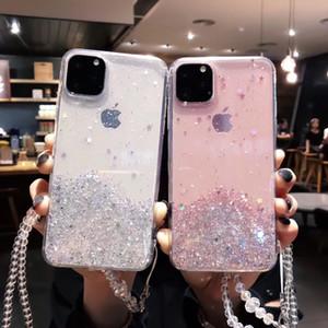 Bling del brillo de las lentejuelas caso para el iPhone 11 11Pro Max Estrella Brillante Transparencia teléfono Caso suave