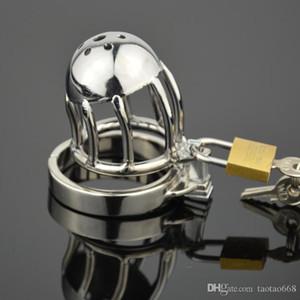 YENİ Çift Kilit Tasarım Paslanmaz Çelik Chastity Kemer Erkek Chastity Cihaz Metal Penis Kilit Chastity Cage Halka Seks Oyuncakları İçin Erkekler Q667