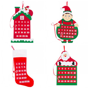 Чулок Эльфы Christmas Advent Calendar Отсчет Подвеска Санта Клаус Войлок Смешной дом И магазин украшения 17yhH1 высокого качества